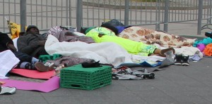 Obdachlose Fluechtlinge
