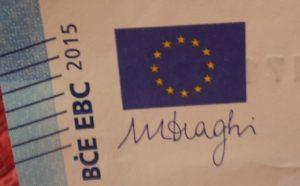 Draghi Unterschrift auf Euro Note