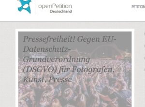Screenshot Petition gegen DSGVO